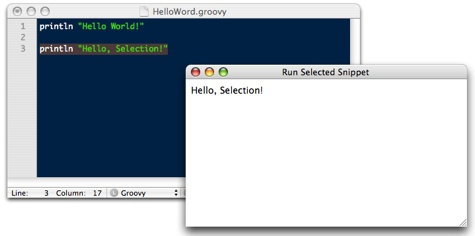 TextMate Screen Shot - Groovy Output w/ Command + Option + R